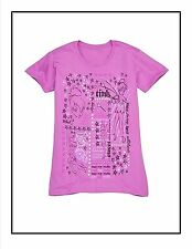 Ladies XS Tinkerbell Tinker Bell Collage Organic Tee T-shirt Purple NWT Tink