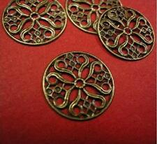 20pc 20mm antique bronze round filigree wrap-4223