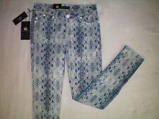 NWT womens size 4 blue white snakeskin ROCK & REPUBLIC skinny Berlin jeans $88