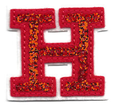 """LETTERS - Red Sequin  2"""" Letter """"H"""" - Iron On Embroidered Applique"""