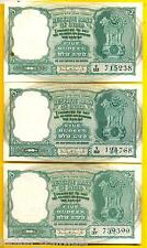 P.C. BHATTACHARYA 5 RUPEES ( FABDA ISSUE ) 3 DEER 1 NOTE FROM LOT, A INSET