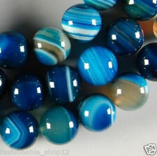 6mm blue Stripe Agate Onyx Gemstone Round Loose Beads 15""