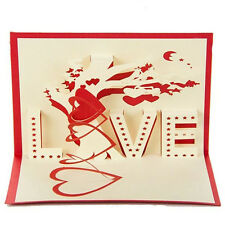 Valentine's Day 3D Greeting Cards Handmade Paper-cut Folding Gift Card Postcards