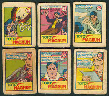 6 Vintage EXOTIC TOTOY MAGNUM Philippine TEKS / Trading Comic Cards 1