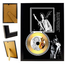 JIMMI HENDRIX B  - A4 SIGNED FRAMED GOLD VINYL COLLECTORS CD DISPLAY PICTURE