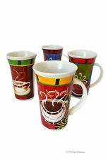 Retro Set 4 pc Cup 15 oz French Coffee Latte Mugs Cups Bistro Cafe Decor (Dw/Mw)