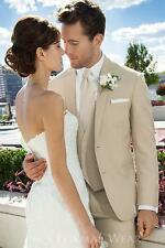 New Custom Beige Groom Wedding Suits Man Formal Business Dress Groomsman Blazers