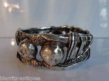 Christian LACROIX Couture bracelet en métal argenté poinçon et signature