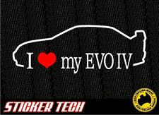 I LOVE (HEART) MY EVO IV MITSUBISHI EVOLUTION FOUR 96 - 1998 STICKER DECAL