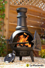 (free cover) Black Cast Iron Steel Chiminea Chimenea 85cm + Swing Out BBQ Grill