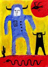dream retrieval e9Art ACEO Shaman Crow Snake Desert Art Painting Outsider Brut