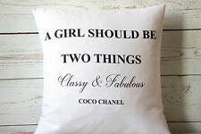 "Coco Chanel Quote Classy - 16"" cushion cover French shabby vintage chic"