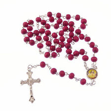 Catholic Wood wooden red long rosary beads Saints junction necklace