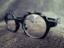 Black Oversized Clear Lens Vintage Retro Round Fashion Glasses 60s 80s
