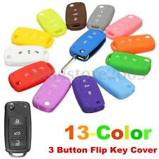 Silicone 3 Button Flip Remote Flip Key Case Fob Cover For VW Golf Bora Beetle