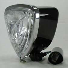 Motorcycle ARIS Style Triangle Headlight High Low Beam H6 Chopper Bobber Harley