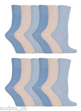 12 Pairs Ladies GG73 Gentle Grip Socks Size 4-8 Uk 37-42 Eur Plain Blue