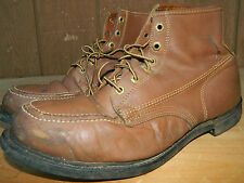1960's Unknown Brand Brown Leather Boots Size 12 D All Original Knapp Sole Used