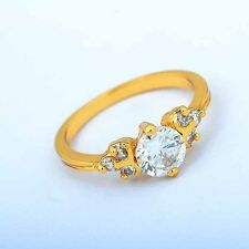 Pretty New Endearing 9K Yellow Gold Filled Lady Fashoin CZ Crystal  Ring Size 8