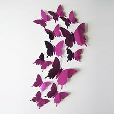 12Pcs Hot Pink Wall Stickers Decal Butterflies 3D Mirror Wall Art Home Decors