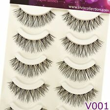 Vivis 5 Pairs V001 Natural Wispies False Eyelashes Black Wispy Fake Eye Lashes