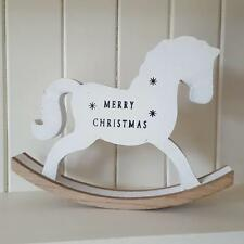 MERRY CHRISTMAS WHITE WOODEN CHIC N SHABBY RUSTIC ROCKING HORSE