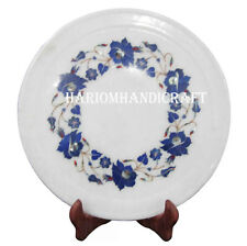 "8"" Marble Serving Plate Round Lapis Inlay Semi Precious Stone Decor Gifts H2565"