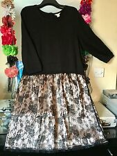 BNWOT MONSOON BLACK SOFT TOP & LACE SKIRT SKATER STYLE JUMPER DRESS SIZE 20/22