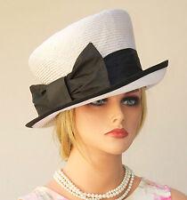 Wedding hat, Church Hat Women's Black & White Hat Mad Hatter Cloche tailored hat
