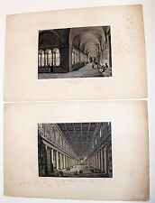 2 Engraved Prints Italian Interior Design Scenes Church Of Sao Paulo & Maggiore