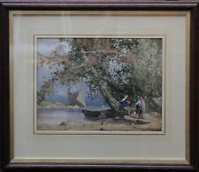 BRITISH 1890 WATERCOLOUR ITALIAN LAKE SCENE - STUNNING VICTORIAN ART LANDSCAPE