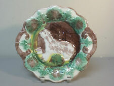 "ANTIQUE ENGLISH MAJOLICA 10.5"" CABINET PLATE, DOG and DOG HOUSE DESIGN"