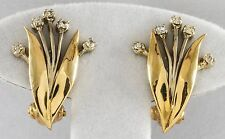 Estate Beautiful Solid 14K Yellow & White Gold Omega Back Diamond Earrings