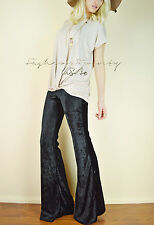 Bohemian VELVET Black Bell Bottom Casual Pants Stretch Yoga BOHO Long Flare M