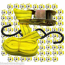 "Lot of 96 Ratchet Tie Down Cargo Straps 1"" inch x 15' Ft with S Hooks US SELLER"