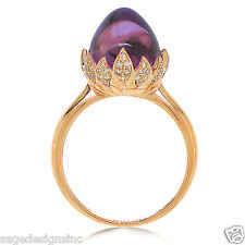 7.98 CT 14K Rose Gold Unique Egg Shape Cabochon Purple Amethyst Diamond Ring