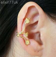 UK GOLD TRIPLE LEAF 3 LEAVES EAR CUFF WRAP UPPER HELIX CARTILAGE CLIP-ON EARRING