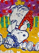 TOM EVERHART WHO PLACED THE WAKE UP CALL? Snoopy Linus PEANUTS  Hand signed