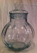 Large Vintage Pumpkin Shape Apothecary/Cookie Jar Round Glass w/ Lid Green Tint