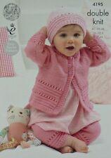 Tejer patrón Baby fácil tejido con ojales patrón Cardigan Leggings Y Sombrero DK 4195