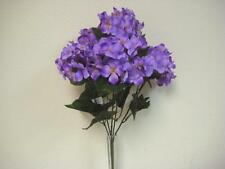 "PURPLE Hydrangea Silk Flowers Bush Artificial 21"" Bouquet 5-2032PU"