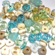 BEACH MIX Handmade Glass Lampwork Beads Blue Topaz Ivory Sea Green Turquoise 20