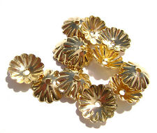 2337FN Bead Cap, Gold ptd Brass, 10mm, Scalloped Edge for 12-14mm bead,  100 Qty