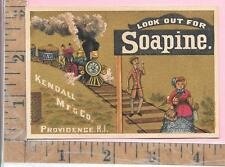 SOAPINE KINDALL MFG CO PROVIDENCE RI LOCOMOTIVE TRAIN CARD