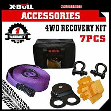 X-BULL 4WD Recovery Kit Snatch Straps Bow Shackles Gloves Bag 4X4 Winch Kit 7PCS