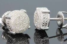 .25 CARAT WHITE GOLD FINISH MENS WOMENS 8mm 100% REAL DIAMONDS EARRINGS STUDS