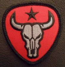 BULL SKULL TEXAS STAR US ARMY MILITARY TACTICAL US ISAF BLACK OPS/RED HOOK PATCH
