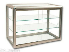 GLASS COUNTERTOP DISPLAY CASE STORE FIXTURE BOUTIQUE SHOWCASE KEY LOCK (3) SHELF
