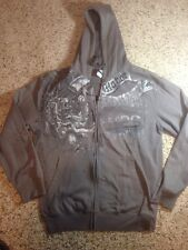 Men's TapOut Full Zip Hoodie - Charcoal Gray Lion Logo Size Large. Ked