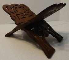 SMALL DECORATIVE CARVED WOOD BOOK BIBLE RECEIPE FOLDING STAND HOLDER RACK